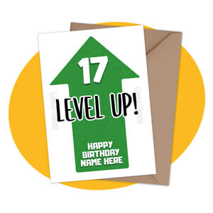 PERSONALISED BIRTHDAY CARD - Level Up! - personalized gamer gaming console theme