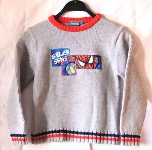 Marvel The Amazing Spiderman warmer Jungen Kinder Strick Pullover Grau Größe 128