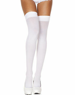 Sexy Music Legs White Opaque Thigh-High Stockings