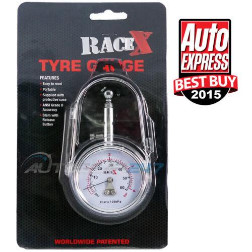 Racex RX0014 vincitore del premio GS//TUV Approvato 0-60 PSI MANOMETRO PRESSIONE PNEUMATICI CON CUSTODIA