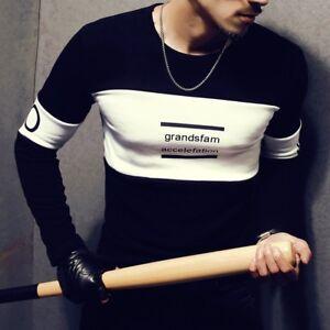 2019-Men-039-s-Fashion-O-neck-Color-Matching-T-shirt-95-Cotton-Long-Sleeve-Tee