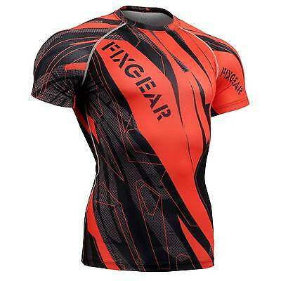 FIXGEAR CFS-68 Compression Base Layer Short Sleeve Shirts, Workout Fitness MMA