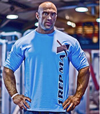 Blue Utili-Tee by 1 Rep Max Bodybuilding Gym T-Shirt Clothing Training Top