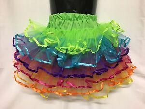 Girls-Tutu-skirt-Approx-6-10yrs-Ballet-Fairy-Dress-Costume-Rainbow-Tulle