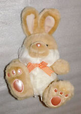 15 in Seated Plush Easter Bunny Tan White Orange Checkered Neck Ribbon Pink Paws