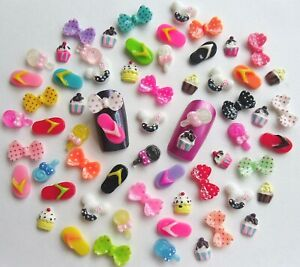 10pcs-x-3D-Acrylic-Nail-Art-Flipflops-Lollipop-Mouse-Cupcake-Bows-Kawaii-Craft