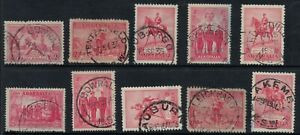 Australia-kgv-2d-kgvs-POSTMARKS-CANCELS-NEW-SOUTH-WALES-NSW-x10
