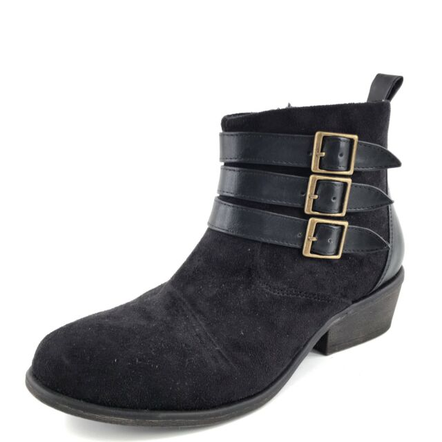 Charles by Charles David Black Suede Buckle Ankle Boots Women's Size 8 M*