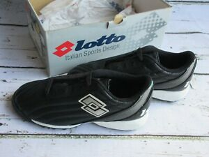 Lotto-Centrale-Indoor-Soccer-Cleat-Shoes-A3284-Black-Silver-Vintage-NEW-NOS