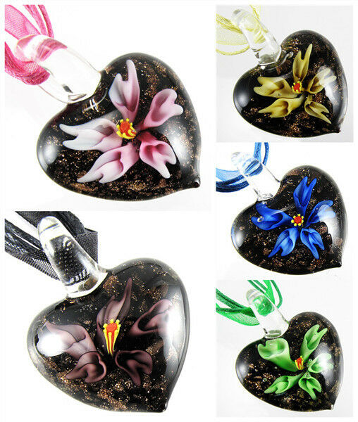 Lucency Trumpet Flower Lampwork Murano Glass Heart Pendant Cord Necklace