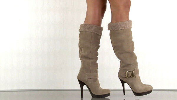 New Guess Edesia Slouchy Slouch Knee High botas zapatos Heels Dark Natural Suede