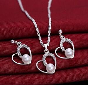 Silver-Rhinestone-Faux-Pearl-Love-Heart-Pendant-Necklace-amp-Earrings-Set-Bridal