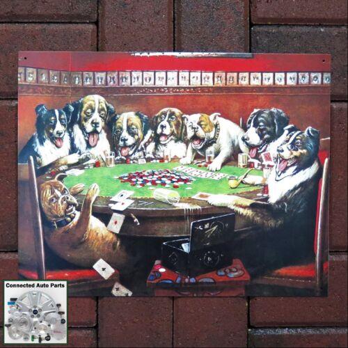 DOGS PLAYING POKER Cards Tin Sign Garage Bar Home Wall Decor Humor Vintage S-497