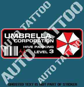 REVERSE-PRINT-UMBRELLA-CORP-PARKING-DECAL-STICKER-STICKER-REANIMATED-LIVING-DEAD