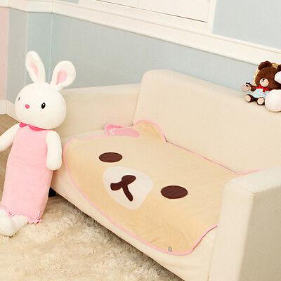 So Cute Beige Rilakkuma Bear Face Fleece Throw Soft Warm Blanket Room Decoration