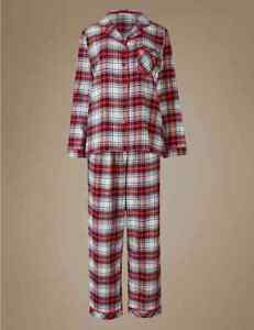 Nachtwäsche Aktiv M & S Collection Pure Cotton Checked Long Sleeve Red Mix Pyjamas