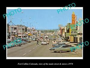 OLD-LARGE-HISTORIC-PHOTO-OF-FORT-COLLINS-COLORADO-THE-MAIN-ST-amp-STORES-c1970