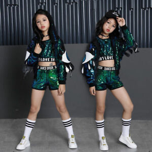 f2389acdbfdf Street Dance Wear Costume Girls Performance Sequins Modern Kids Hip ...