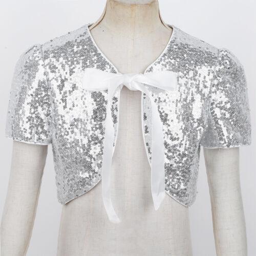 Girls Kids Sequined Bolero Short Jacket Shrug Flower Girl Dress Cover Up Tops
