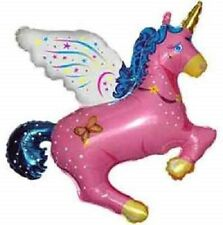 """34"""" PINK UNICORN balloon PARTY new PEGASUS favors HORSE winged FLYING free ship"""