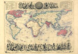 Mp44 Vintage 1850 De Victoriano Histórica Imperio Británico Mapamundi a1//a2//a3