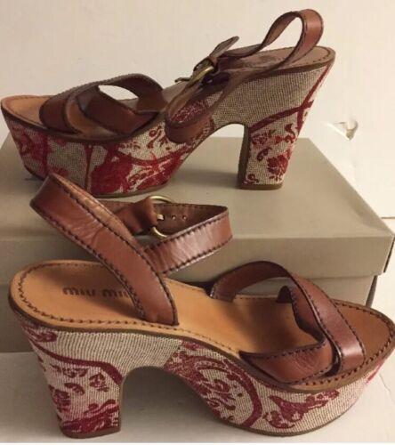 Flowered red Sandals 37 Platform prada Block Heel eu Tan Miu Miu IBwO1qZq