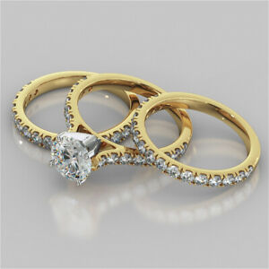 2.92 Ct Round Moissanite Engagement Trio Band Set 18K Solid Yellow Gold Size 7 8