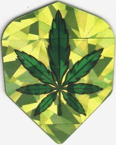 3 per set PENTATHLON Green Pot Leaf Dart Flights
