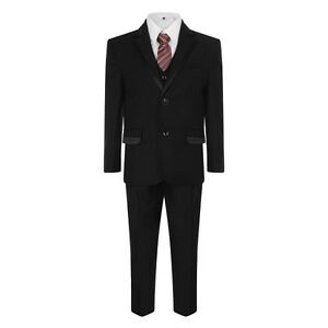 Black Suit Kids 5 Piece Pageboy Wedding Prom Party Suit for Boys 1 to 12 Years