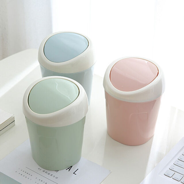 Mini&Small Trash Garbage Can Plastic Swing Lid Bathroom Kitchen Waste  Basket Bin