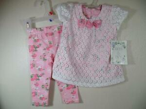 New-Girls-Iris-Ivy-2-Pc-White-Lace-Over-Roses-Dress-Matching-Pants-12-Months