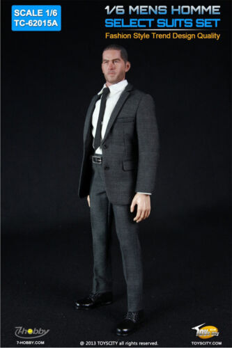 1//6 Custom Mens Homme Select Grey Suits A for Action Figure by Toys City 62015A