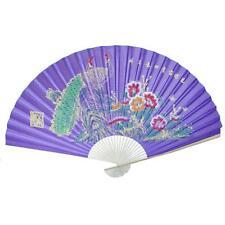 "Large 84"" Folding Chinese Wall Fan Oriental Paper Hanging- Purple Peacock"