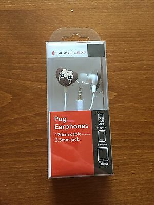 Signalex Pug Dog Themed Earphones - NEW & Boxed
