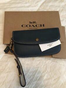 Coach-1941-Glove-tanned-Leather-Phone-Wristlet-Clutch-Dark-Denim-F58818-Antique