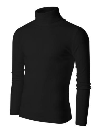 New Mens Turtleneck Pullover Sweater Lightweight Cotton Stretch Jumper S M L XL