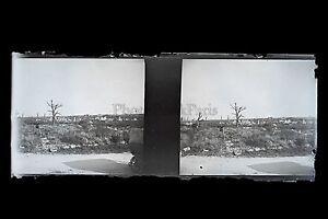 Pellegrinaggio paesaggi devastato dalla Grande Guerre WW1 Placca stereo NEGATIVO