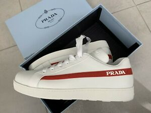 650-Prada-AUTH-NEW-Red-White-Avenue-Last-Logo-Tab-Embellished-Sneakers-38-5
