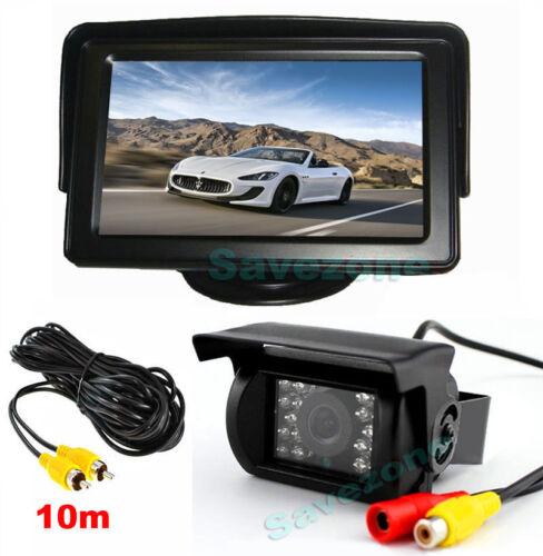 Car Rear View Kit 4.3 LCD Monitor + 18 LED HD Reverse Backup Camera 10m Cable