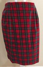 Talbots Velvet Plaid Skirt Christmas 10 Straight Knee Length Split Red Multi