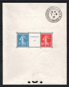 FRANCE-BLOC-FEUILLET-2a-034-STRASBOURG-1927-034-NEUF-xx-AVEC-CACHET-EXPOSITION-T746