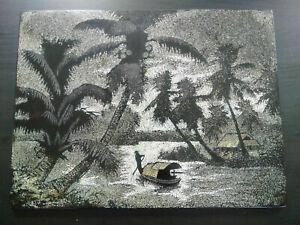 Grand-panneau-polychrome-Vietnam-annees-50-Laque-et-coquille-d-039-oeuf-etat-parfait