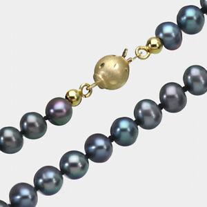 585-ECHT-GOLD-Perlen-Collier-Kette-schwarz-grau-45-cm