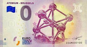 BILLET-0-EURO-ATOMIUM-BRUSSELS-BELGIQUE-2018-NUMERO-100