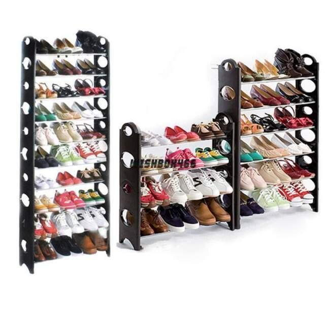 Home Portable Closet Storage Organizer Cabinet Shelf Shoe Rack 10 Layer/30 Pairs
