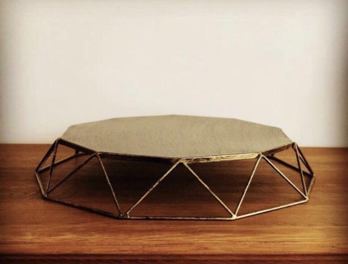 Geometric cake stand - 12  cake stand - geo cake stand - Gold cake stand -