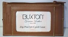 Buxton Leather Brown Business Envelope Card Case Holder Work Organize 5 X 3