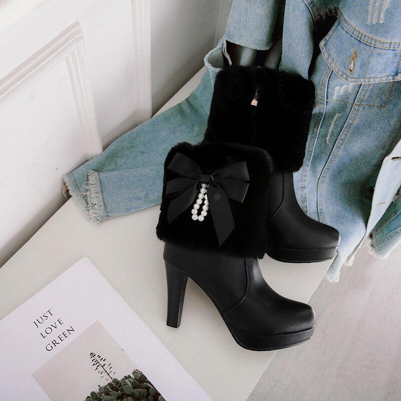 Womens Winter Cute Bowknot Fur Trim Warm Ankle Boots High Block Heels Fashion Sz