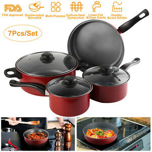 Details about 7PC Non-Stick Cookware Set Red Pots And Pans Home Kitchenware  Set Sauce Fry Pans