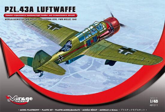 PZL 43 A - WW II POLISH BOMBER - LUFTWAFFE MARKINGS 1 48 MIRAGE (KARAS)